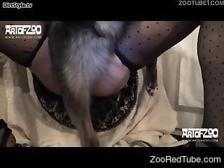 Masked brunette with huge boobies is enjoying dirty dog sex