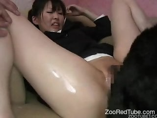 Obedient Japanese girl gets ass-blasted by a dog