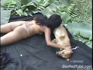 Latina babe gets fucked by a twisted stallion