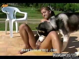Tanned babe with tan lines sucking on a dog's cock