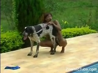 Cute Latina enjoying poolside anal with a doggo