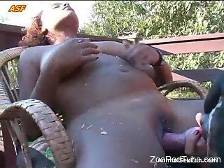 Brown-skinned babe getting ruined by a horny animal