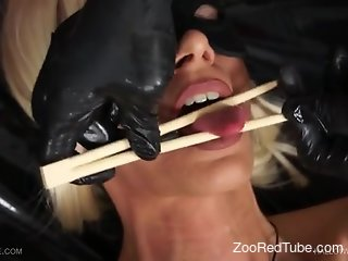 Blonde whore endures worms all over her cunt and tits