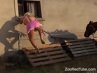 Pink get-up blonde fucks a sexy fucking horse
