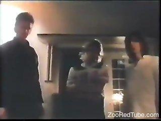 Vintage porno movie with free-spirited zoophiles