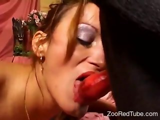 Redheaded lady with a great tan gets screwed by a beast